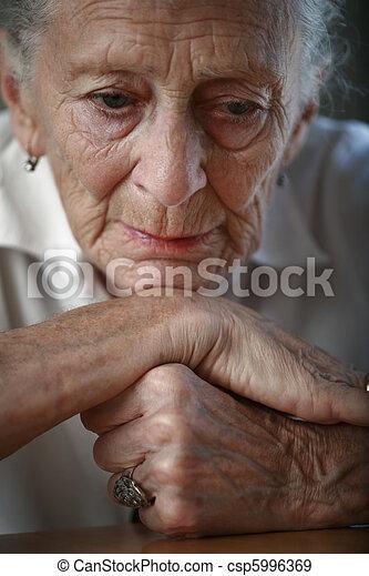 Senior woman pondering. Close-up, shallow DOF, focus on eyes. - csp5996369
