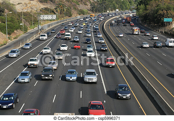 Traffic on the Hollywood 101 freeway. Los Angeles, California, USA. - csp5996371