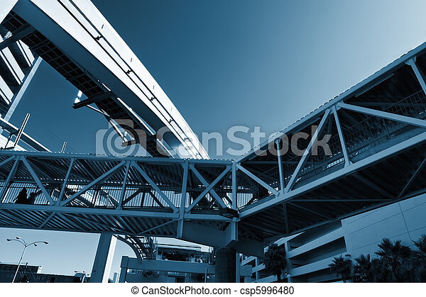 Urban infrastructure. Knot made of bridges between buildings and a monorail. - csp5996480