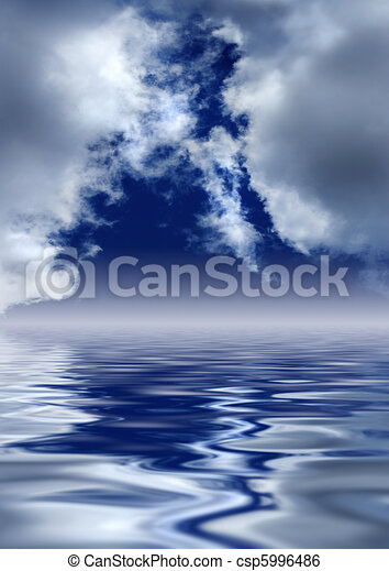 Heaven's Gates. Scenic clouds over water. - csp5996486