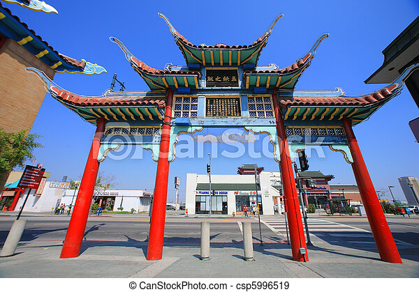Gate to Chinatown in Los Angeles, California, USA - csp5996519