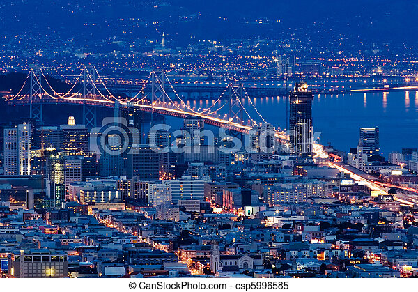 San Francisco bridges at night aerial view from Twin Peaks. - csp5996585
