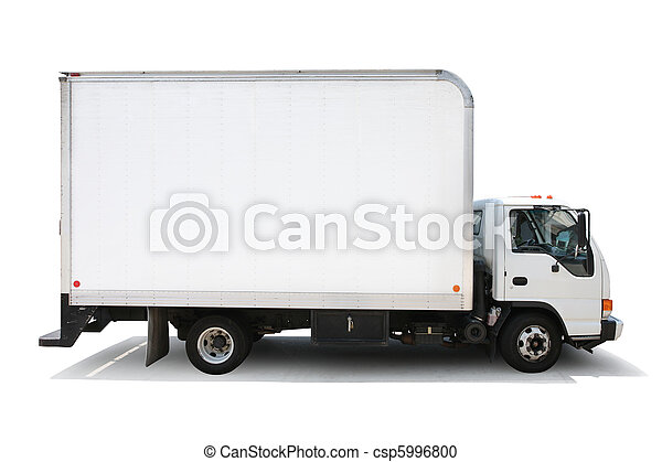White delivery truck isolated on white background, clipping paths included. - csp5996800