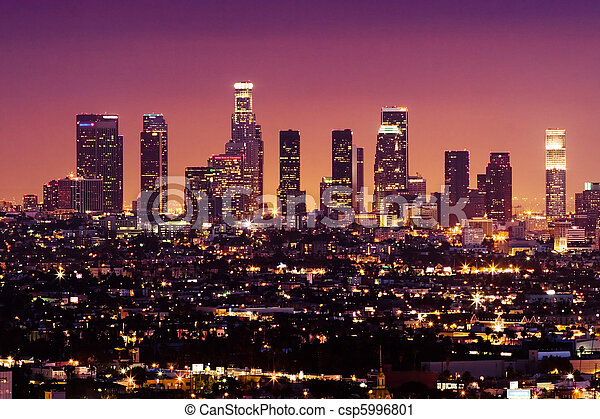 Downtown Los Angeles skyline at night, California, USA - csp5996801
