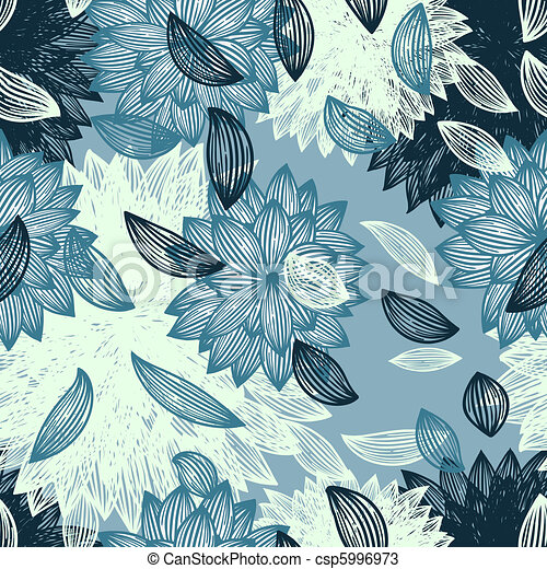 seamless background with flower and  blown petals - csp5996973