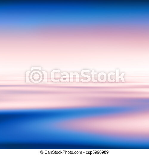 Abstract blue water and pink sky background - csp5996989