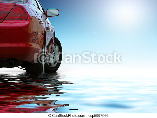 Red sporty car isolated on clean background reflects in the water. - csp5997066