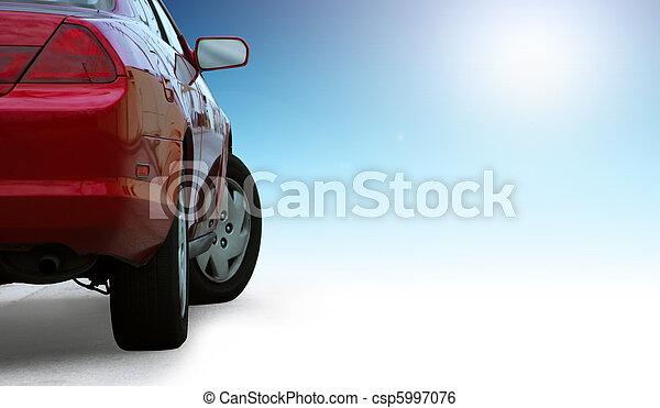 Red sporty car detail  isolated on clean background and outlined with a clipping path. - csp5997076