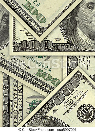 US banknotes in hundred dollar bills - csp5997091