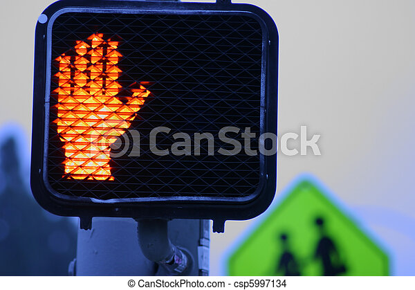 Stop signal at dusk. Crossprocessed. - csp5997134