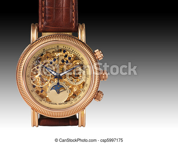 Golden watch mechanism, macro detail. - csp5997175
