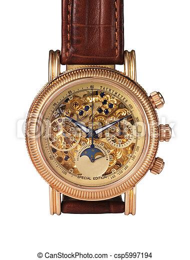 Golden watch mechanism, macro detail. - csp5997194