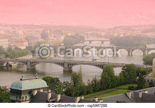 Aerial view of Bridges of Prague, Czech Republic   - csp5997288