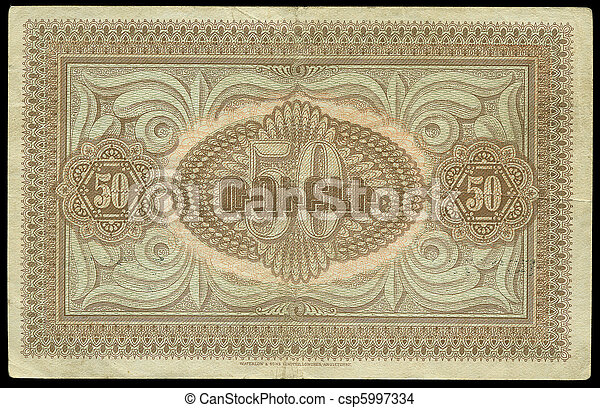 Vintage Currency. Fifty Armenian Roubles, 1919 - csp5997334