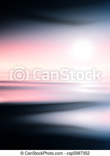 Abstract blue water and pink sky background - csp5997352