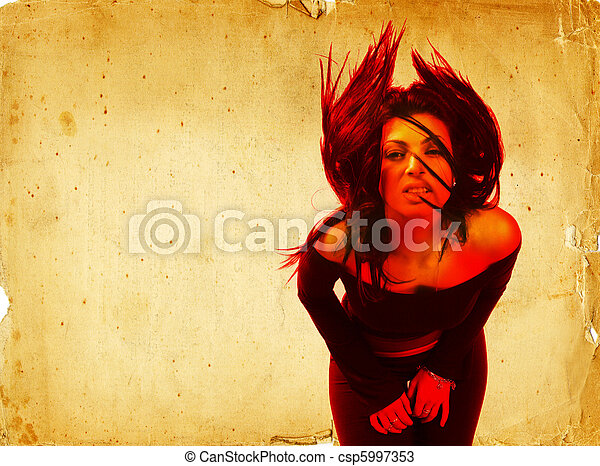 Hot Young Brunette Woman Waving Her Hair Digital Composite - csp5997353