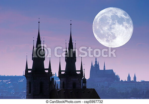 Czech Republic, Prague, silhouette of high section of Tyn church at night. - csp5997732