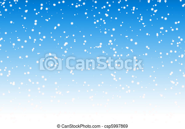 Falling snow over night blue winter sky background - csp5997869