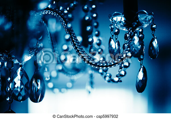 Chrystal chandelier close-up, Shallow DOF. Abstract background. - csp5997932