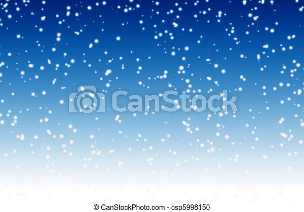Falling snow over night blue winter sky background - csp5998150