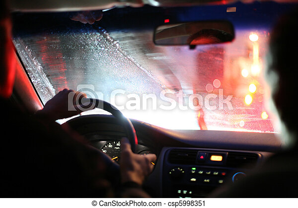 Driving on a rainy night - csp5998351