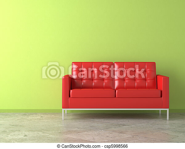 red couch on green wall - csp5998566