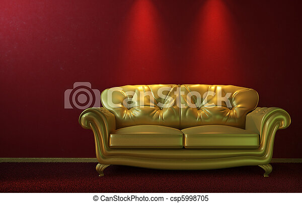 Glam golden couch on red - csp5998705