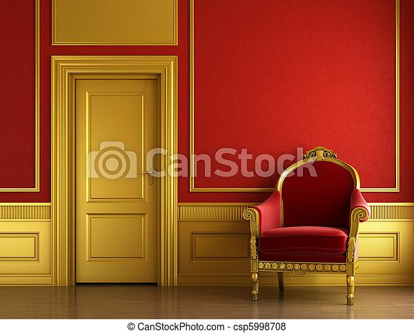 stylish golden and red interior design - csp5998708