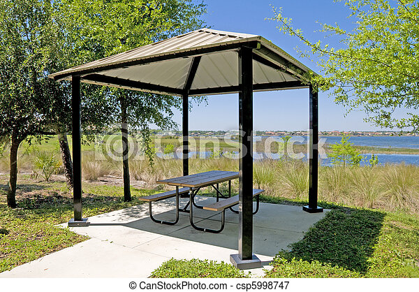 Picnic table and shelter on a lake shore