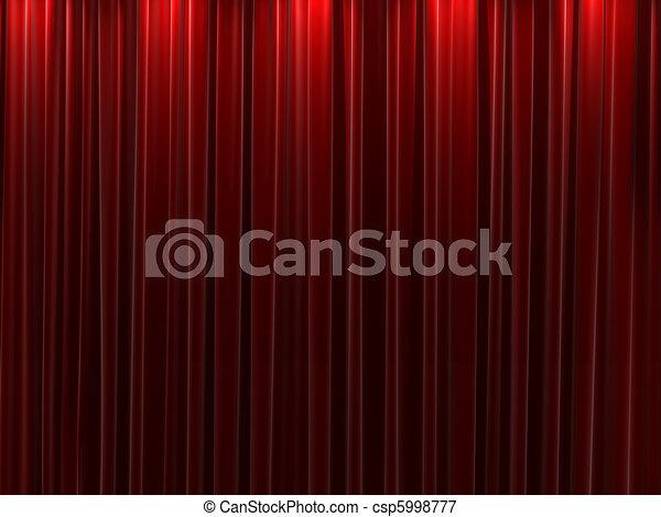 Red velvet curtains background - csp5998777