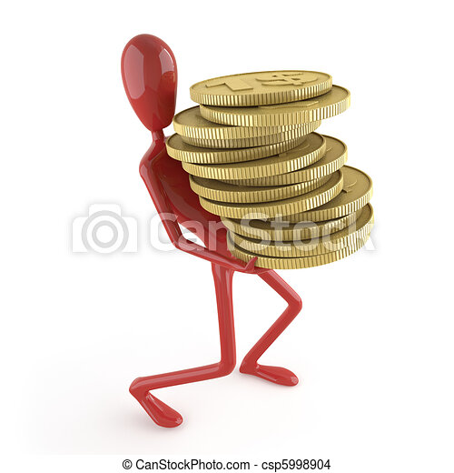 dummy carrying coins - csp5998904