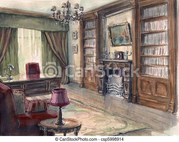 Tekening van interieur schets kabinet de interieur for Interieur kabinet