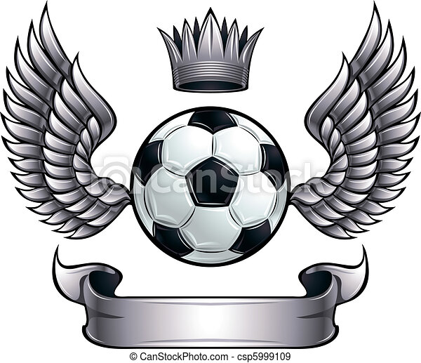 Winged soccer ball emblem. - csp5999109