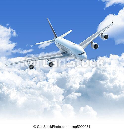 skyn,  över, flygning, främre del,  airplane, topp, synhåll - csp5999281
