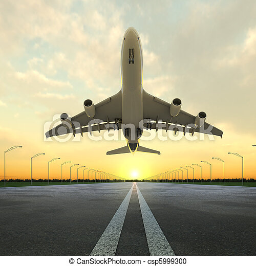 takeoff plane in airport at sunset - csp5999300