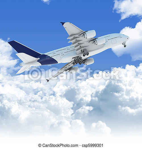 airplane flying over the clouds at takeoff bottom view - csp5999301