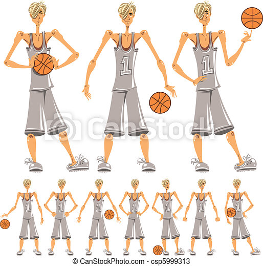 Basketball player illustrations set - csp5999313
