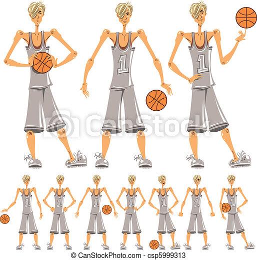 Basketball player illustrations set - csp5999313