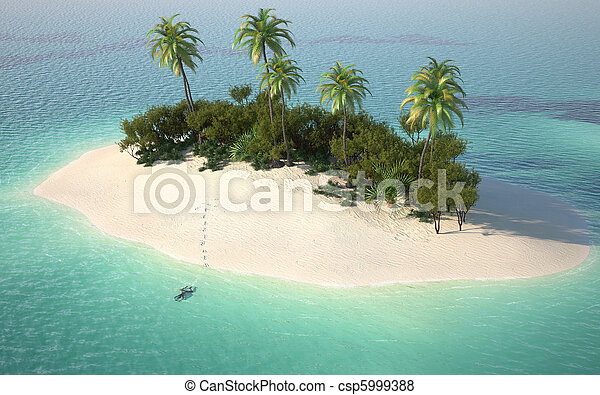 aerial view of caribbeanl desert island - csp5999388