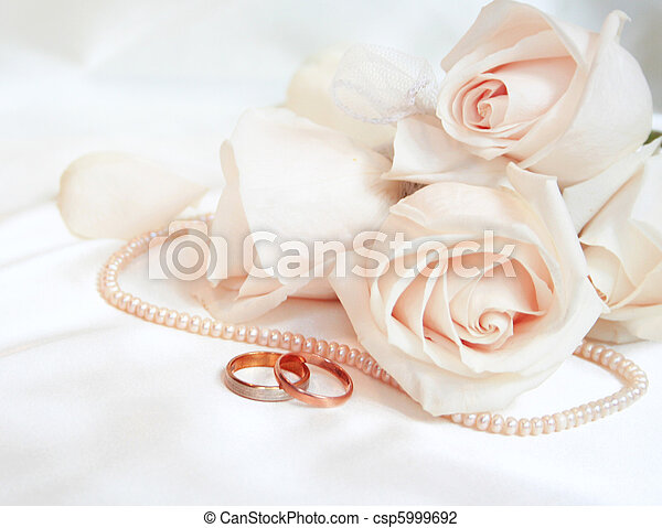 Wedding rings and roses - csp5999692
