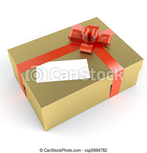 golden gift with white label - csp5999782