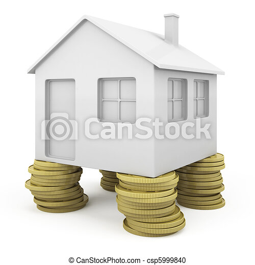 icoinc house with coins pillars - csp5999840