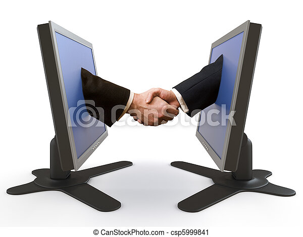 handshake between LCD screens - csp5999841