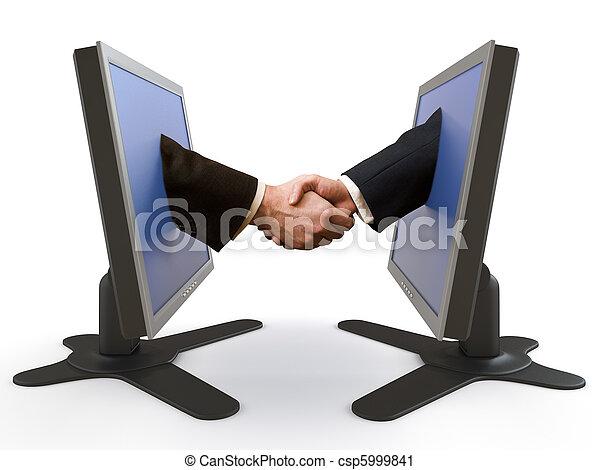 handshake between LCD screens - csp5999841