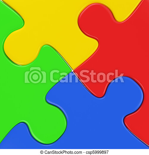 four colored puzzle pieces close up - csp5999897