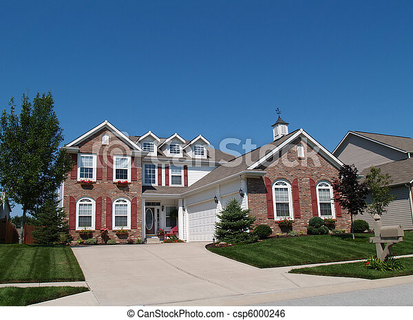 Two Story Home With Flowerboxes  - csp6000246