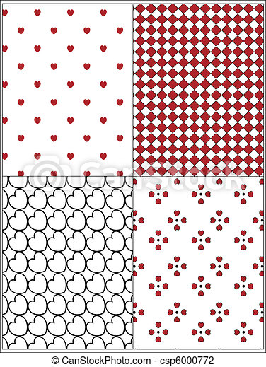 Clip Art of Four Valentine Wallpaper Background - Four red, black ...