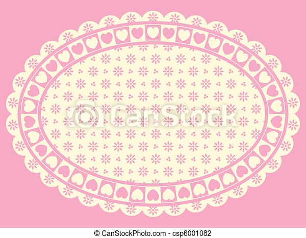 Vector Oval Heart Border  - csp6001082