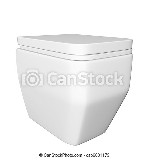 Modern square white ceramic and acrylic toilet bowl and lid, isolated against a white background. 3D illustration - csp6001173