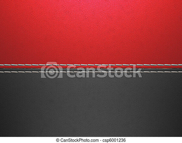 Red and black horizontal stitched leather background - csp6001236
